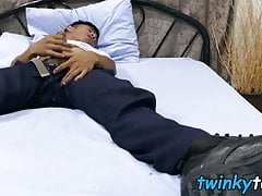 Asian twink Robin takes off socks to eat feet while wanking