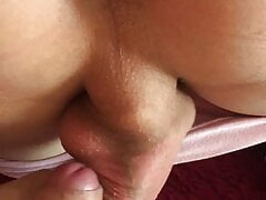 sissy's smooth ass and two powerful cocks