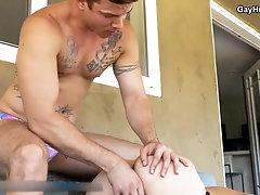 Sexy stranger barebacks lifeguard for saving his life