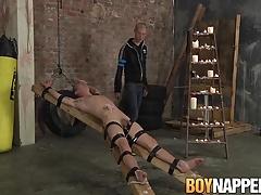 Bonded bitch Ashton Bradley gets pleasured by Michael Wyatt