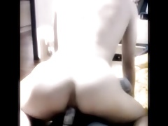 Horny sissy riding dildo
