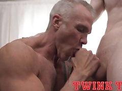 Hung twink stud fucks older silver muscle daddy bareback