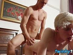 Skinny blond twink barebacked after mutual feet licking