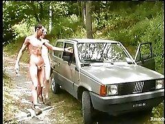 Smooth Handsome Raunchy Boys Outdoor Anal Sex On Da Car Hood
