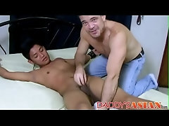 Freaky daddy ties up oriental butt pirate and dicks his hole