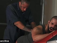 Tattooed tow trucker pounds hairy dudes tight asshole