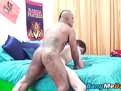 Horny twink rides tattoed not daddy big hard cock on the bed