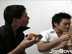 Wild Japanese gay missionary ass drilled and swallowed cum