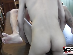 Twinks bareback in the table