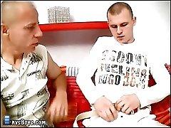 Innocent-looking baldheaded boy fucks old gay raw