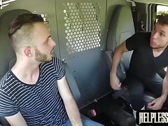 Bondaged Valentino Nappi facialized after riding cock in van