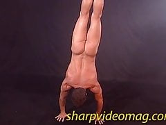 BIG DICK GYMNAST flips, splits & gets hard