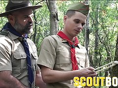 Pervy hung Scoutmaster barebacks hot boy scout on hammock