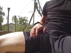 Rubbing under shorts untill he cums