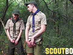 Cute junior scout spies then tries out older scout's dick