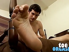 Hunter showing off his feet and almost teasing us with them
