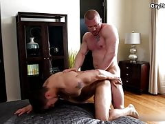 Straight muscle jock friends suck and rough fuck after work