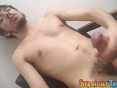 Solo masturbation with young straight guy stroking his cock