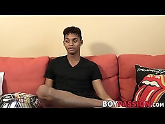 Interviewed black twink Deven Lions shoots massive load