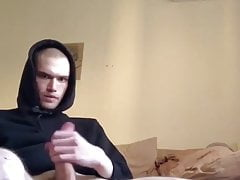 skinhead hoodie twink has perfect balls and shoots his load