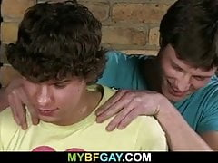 Curly teen boy rides his gay buddy's cock