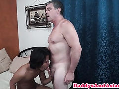 Tiny asian twink cocksucking dilf