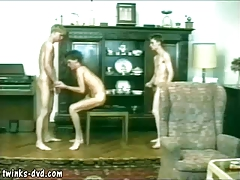 Three young gay lovers enjoying rough extreme sex