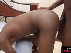 Unsaddled black twink gives bj before breeding