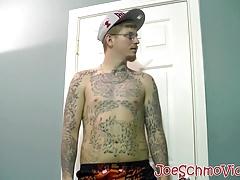 Tattoed Ivy drains his balls of jizz