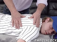 Bearded daddy raw penetrates his stepson missionary style